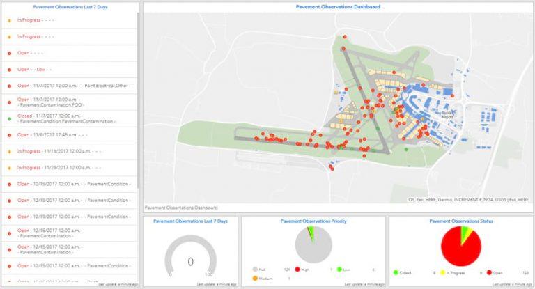 На этой операционной панели на основе приложения Dashboard for ArcGIS красным цветом показано, где в настоящее время существуют проблемы с покрытием летного поля, которые необходимо устранить.