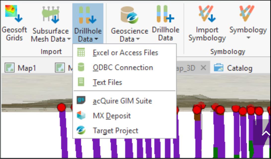 Опции импорта данных по скважинам в Target for ArcGIS Pro.