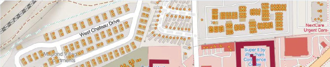 Здания и адресные точки OSM отображаются на базовой карте OSM, пример по г. Флагстафф, штат Аризона.