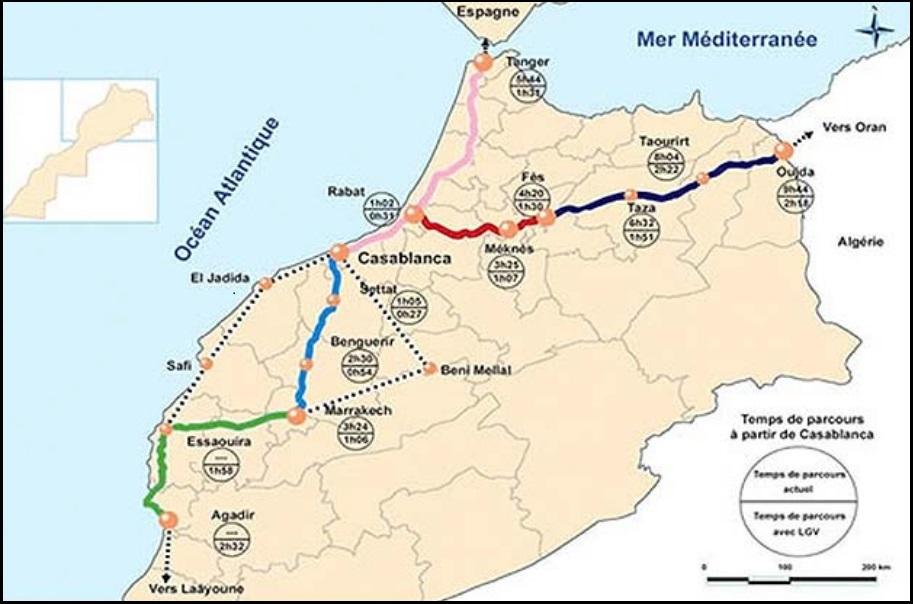 Сеть железных дорог, которой управляет марокканская государственная компания ONCF, связывает все основные города и производственные объекты на территории страны и постепенно расширяется.