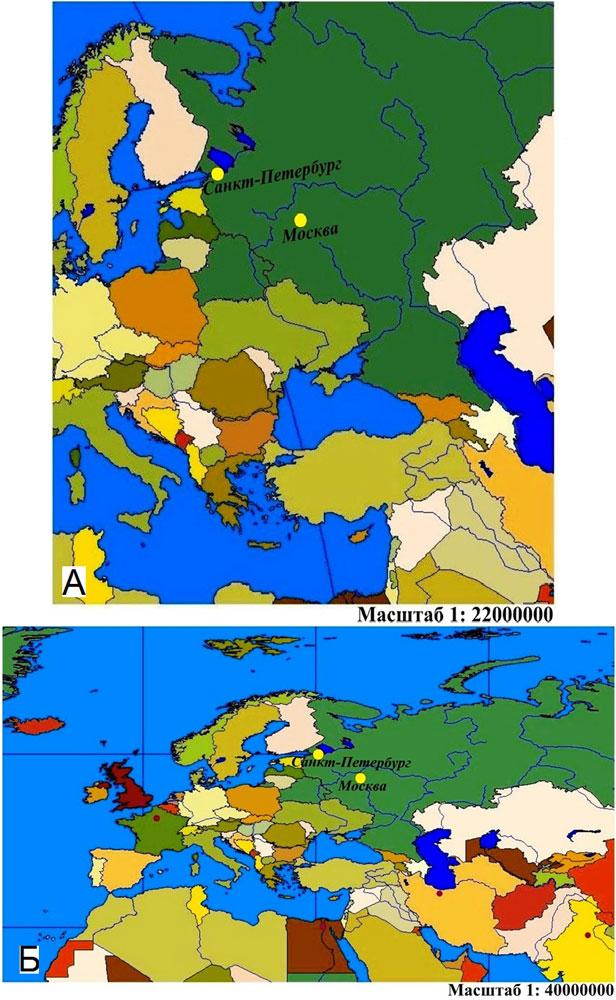 ГИС позволяют визуально представить учебные картографические материалы и инструменты для решения поставленной задачи: 1(а) – Фрагмент карты полушарий (равнопромежуточная азимутальная проекция); 1(б) – Фрагмент карты мира (равнопромежуточная цилиндрическая проекция)